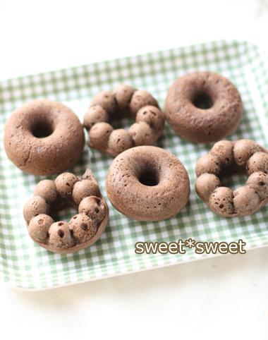 レシピ あり- シリコン型 で作る ココア味 の 焼きドーナツ