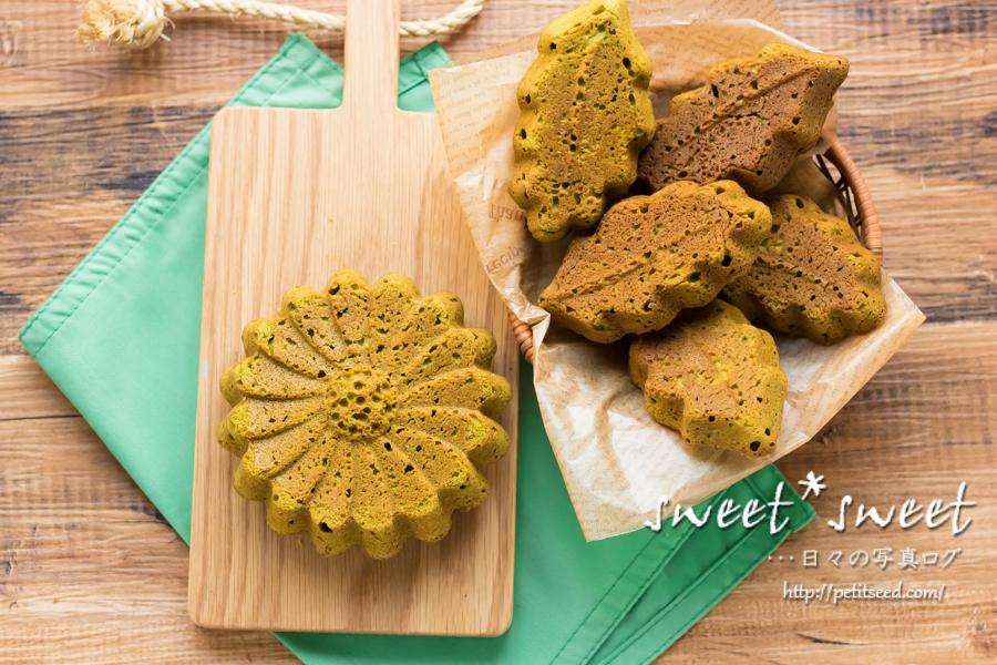 リーフ型とマルグリット型で抹茶のパウンドケーキ