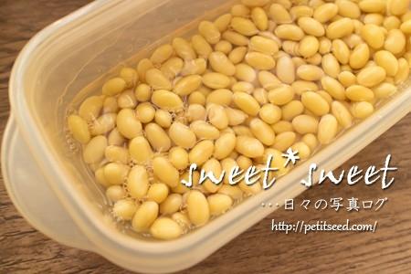 大豆を水に戻す